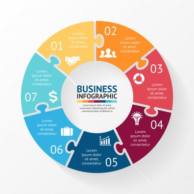Vector circle puzzle infographic. Template for diagram, graph, presentation and chart. Business concept with 7 options, parts, steps or processes. Abstract background.