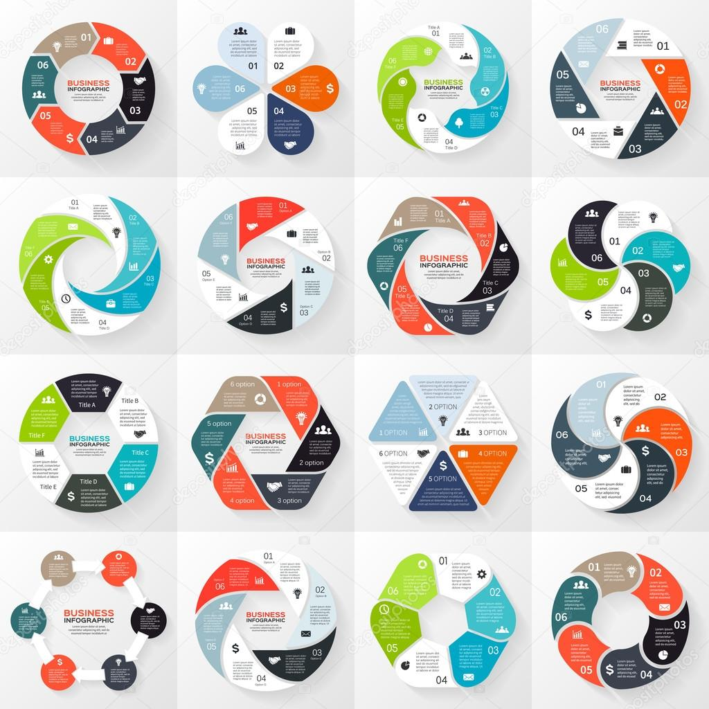 Vector circle infographics set. Template for diagram, graph, presentation and chart. Business concept with 6 options, parts, steps or processes. Abstract background.