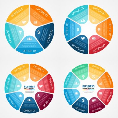Vector color circle infographics set. Template for diagram, graph, presentation and chart. Business concept with 5, 6, 7, 8 options, parts, steps or processes. Abstract background.