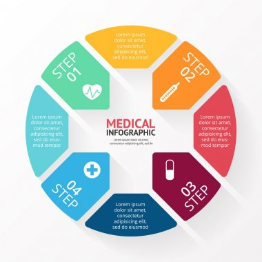 Vector circle plus sign infographic. Template for diagram, graph, hospital presentation and chart. Medical healthcare concept with 4 options, parts, steps or processes.