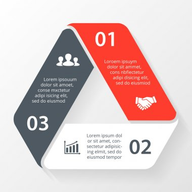 Vector triangle infographic. Template for diagram, graph, presentation and chart. Business concept with 3 options, parts, steps or processes. Abstract background.