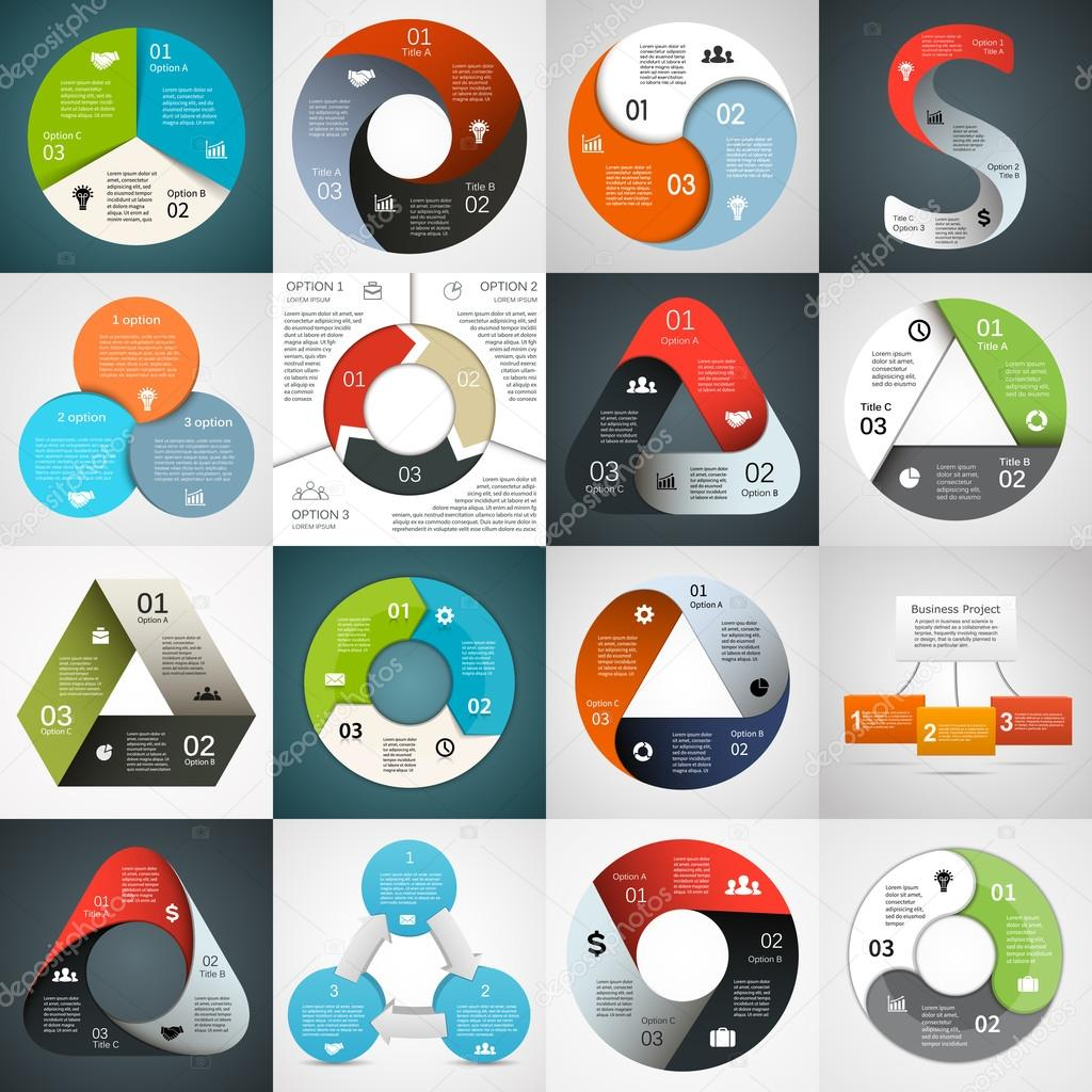 Vector circle triangle infographics set. Template for diagram, graph, presentation and chart. Business concept with 3 cyclic options, parts, steps or processes. Abstract background.