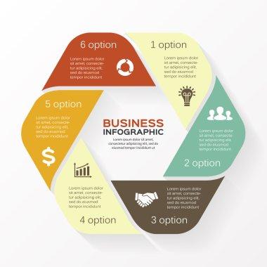 Infographic, diagram, 6 options, parts, steps.
