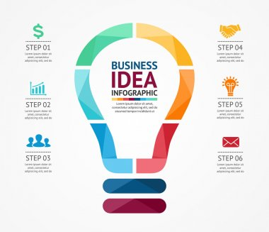 Vector idea infographic with light bulb. Template for creative diagram, graph, presentation and chart. Business concept with 6 options, parts, steps or processes of brainstorm and creativity.