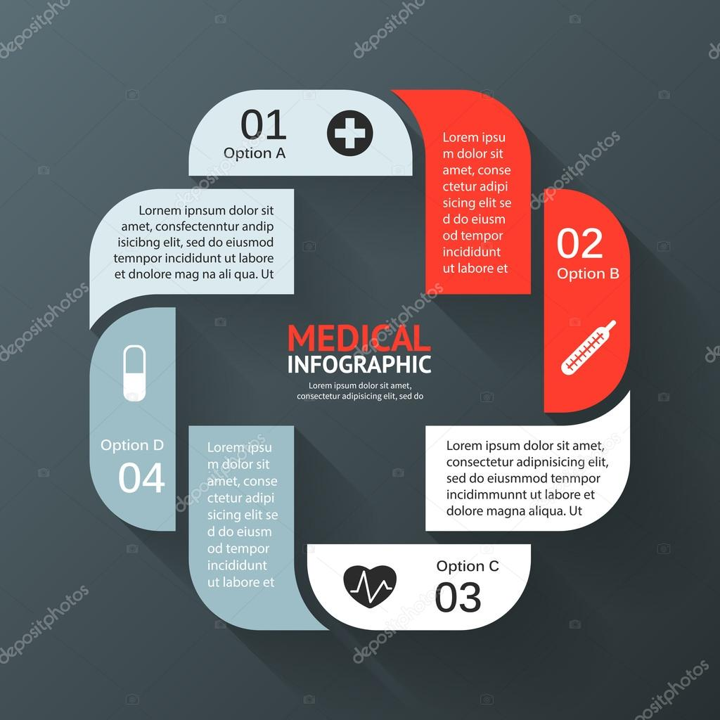 Vector circle plus sign infographic. Template for diagram, graph, presentation and chart. Medical healthcare concept with options, parts, steps or processes. Abstract background.