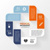 Lékařská péče kruh infographic znaménko plus