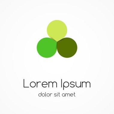 Circle green leaves logo. Eco sign, symbol.