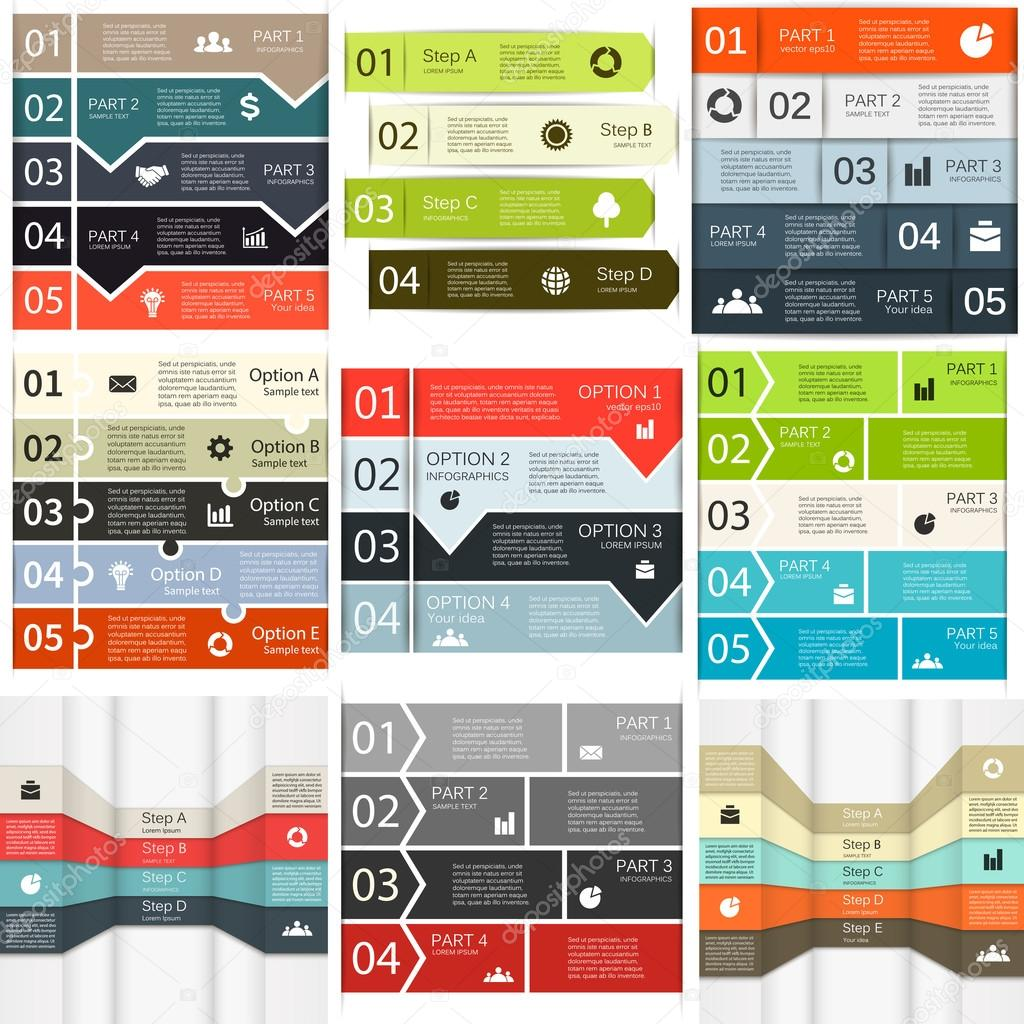 Vector lines infographics set.