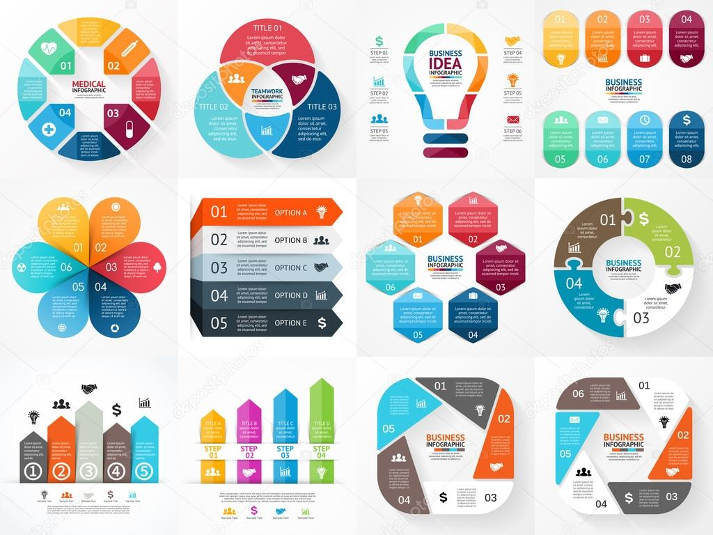 infographics set Collection of templates for cycle diagram graph – Graphs and Charts Templates