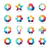 Fotografie Logo šablon sady. Abstraktní symboly tvůrčí kruh. Kruhy, znaménko plus, hvězdy, trojúhelník, šestiúhelníky, žárovky a další prvky návrhu