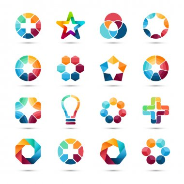 Logo templates set. Abstract circle creative symbols. Circles, plus signs, stars, triangle, hexagons, bulb and other design elements.