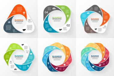 Vector circle geometric infographics set. Template for cycle diagram, graph, presentation and round chart. Business concept with 3, 4, 5, 6, 7, 8 options, parts, steps or processes.