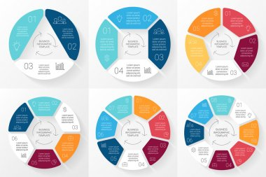 Vector circle infographic. Template for cycle diagram, graph, presentation and round chart. Business concept with 3, 4, 5, 6, 7, 8 options, parts, steps or processes. Linear minimal graphic.