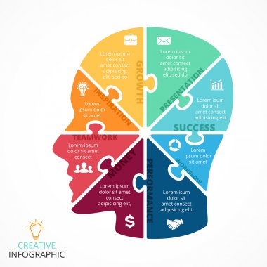 Vector puzzle human face infographic. Cycle brainstorming diagram. Creativity, generating ideas, minds flow, thinking, imagination and inspiration concept. 8 options, parts, steps or processes.