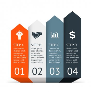 Vector arrows infographic. Template for diagram, graph, presentation and chart. Business startup concept with 4 options, parts, steps or processes. Abstract background. Data visualization.