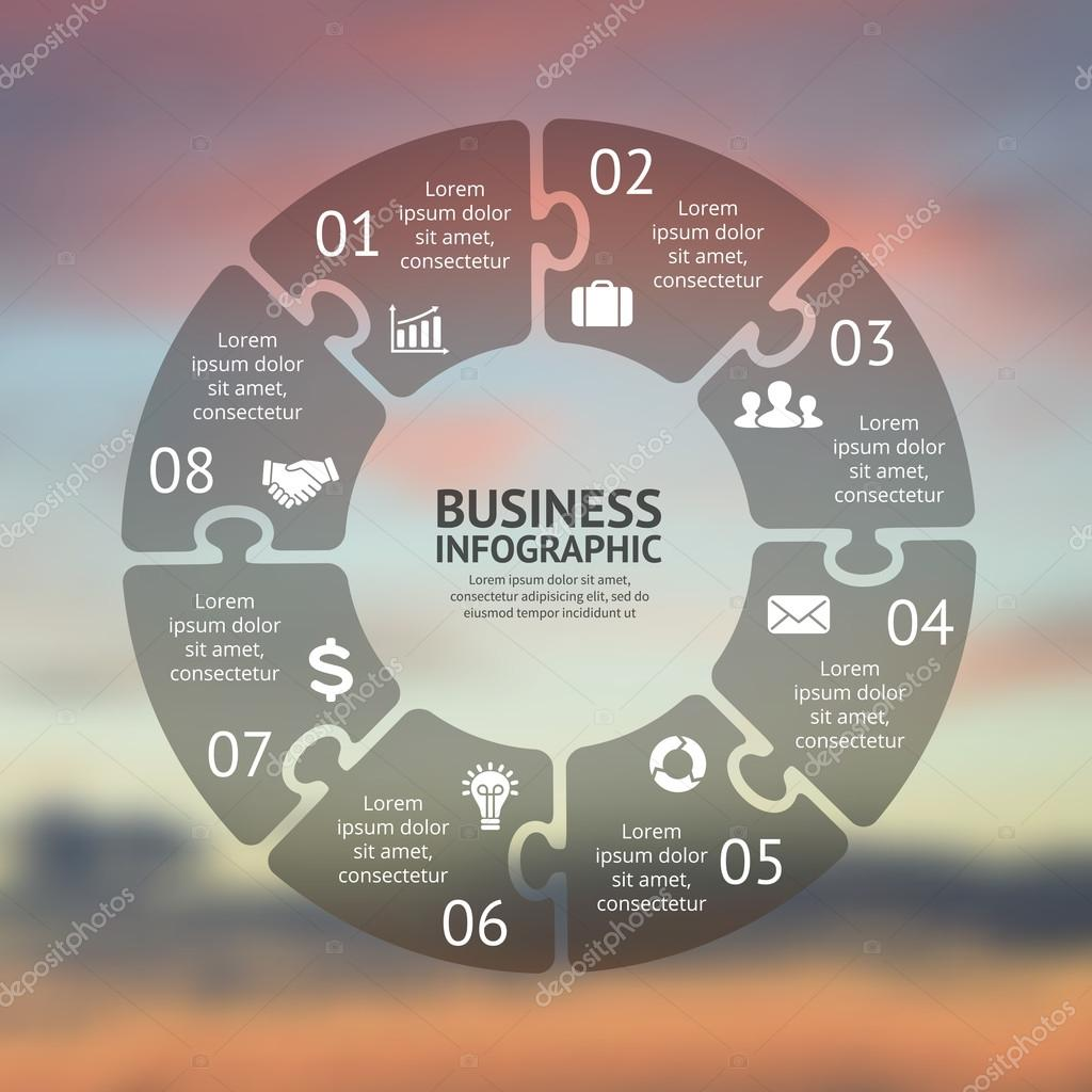 Circle puzzle infographic. Template for cycle diagram, graph ...