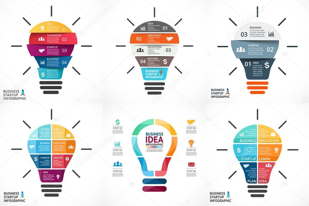 Vector light bulb infographic template for circle diagram graph template for circle diagram graph presentation and round chart ccuart Image collections