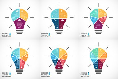 Vector light bulb infographics set. Template for circle diagram, graph, presentation and round chart. Business startup idea concept with 3, 4, 5, 6, 7, 8 options, parts, steps or processes. Successful