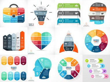 Creative vector arrows teamwork infographics, diagrams, graphs, charts. 3, 4, 5, 6, 7, 8 options, parts, steps. Human head, idea light bulb, heart, plus sign, startup rocket, businessman bag.