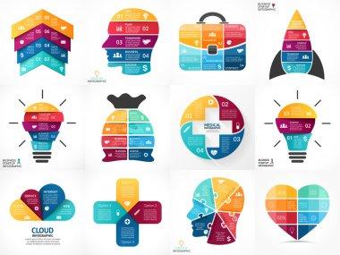 Creative vector arrows infographics, diagrams, graphs, charts. 3, 4, 5, 6, 7, 8 options, parts, steps. Human head, idea light bulb, heart, plus sign, startup rocket, businessman bag, cloud service.
