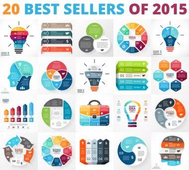 Creative vector arrows infographics set, diagrams, graphs, charts. 3, 4, 5, 6, 7, 8 cycle options, parts, steps. Human head, idea light bulb, heart, plus sign, businessman bag.