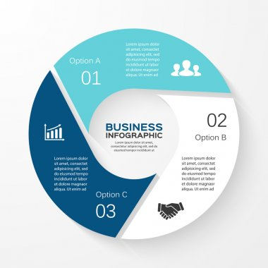 Vector circle infographic. Template for cycle diagram, graph, presentation and round chart. Business concept with 3 options, parts, steps or processes. Abstract background.