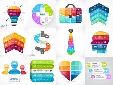Creative vector arrows infographics set, diagrams, graphs, charts. 3, 4, 5, 6, 7, 8 cycle options, parts, steps. Human head, idea light bulb, plus sign, businessman bag, tie, heart.