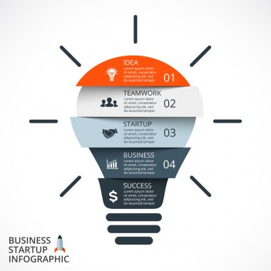 Vector light bulb infographic. Template for circle diagram, graph, presentation and round chart. Business startup idea lamp concept with 4, 5  options, parts, steps, processes. Successful