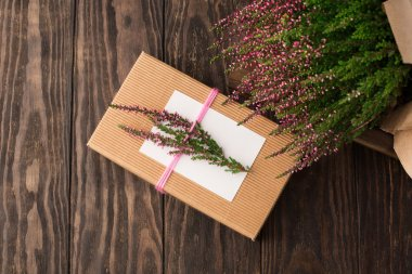 Gift with heather flowers