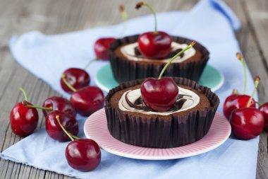 Chocolate dessert with cherries