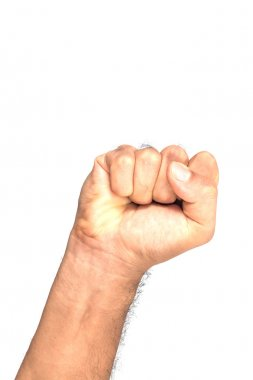 Male clenched fist, isolated on a white background with clipping path