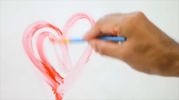 Umělec barvy dvě červené srdce tvar