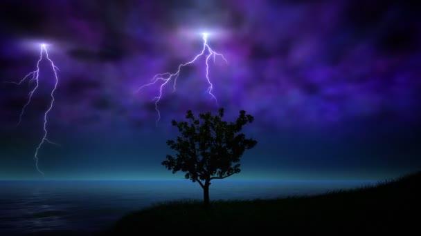 Noční bouře s blesky smyčka