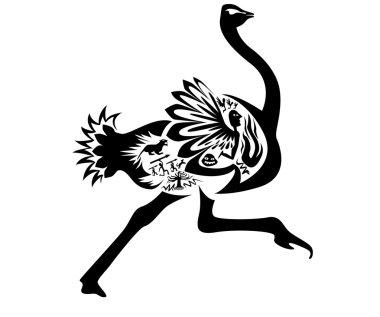Ostrich tattoo stamp