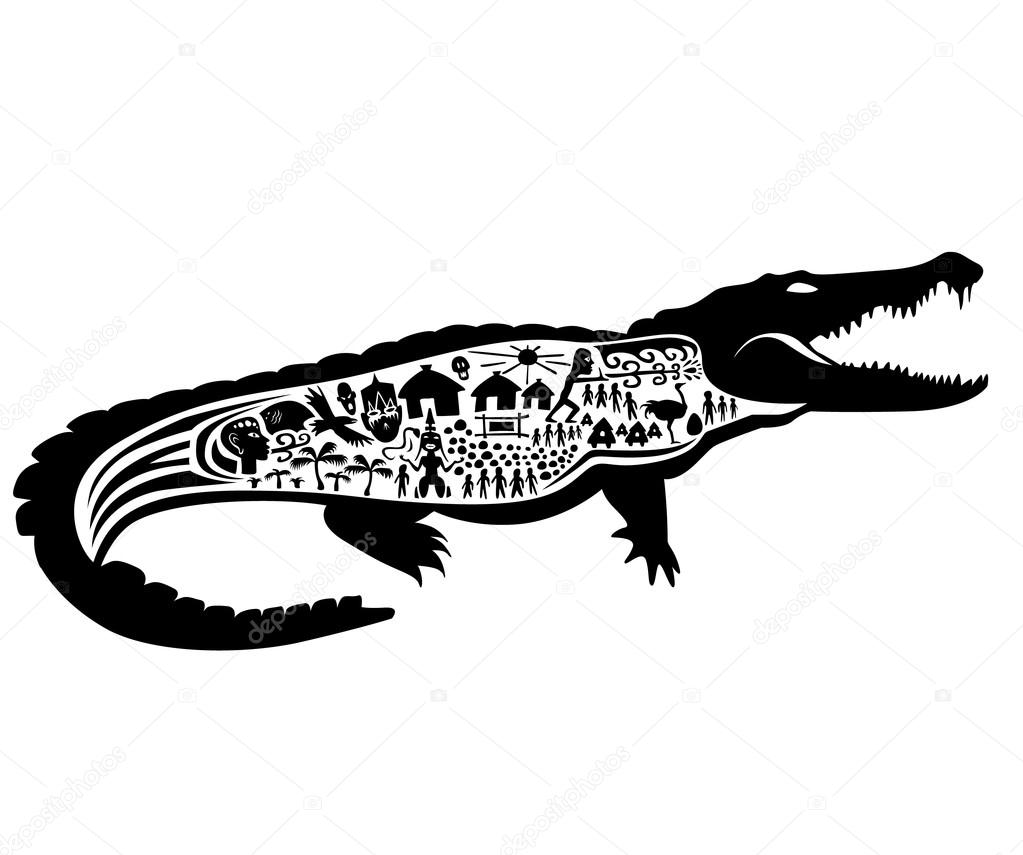 Crocodile Tatouage Timbre Image Vectorielle Vadim Design