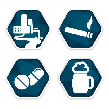 Cancer risk factors icons set