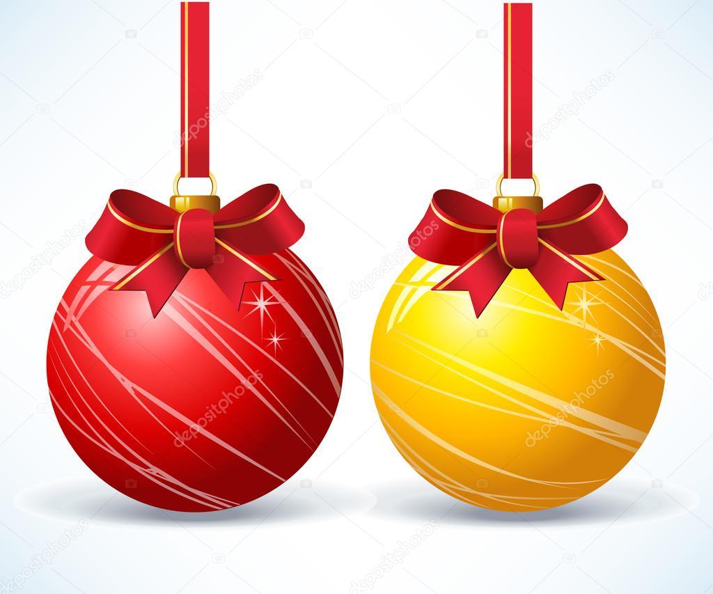 Bolas de navidad doradas y rojas vector de stock - Bolas de navidad doradas ...