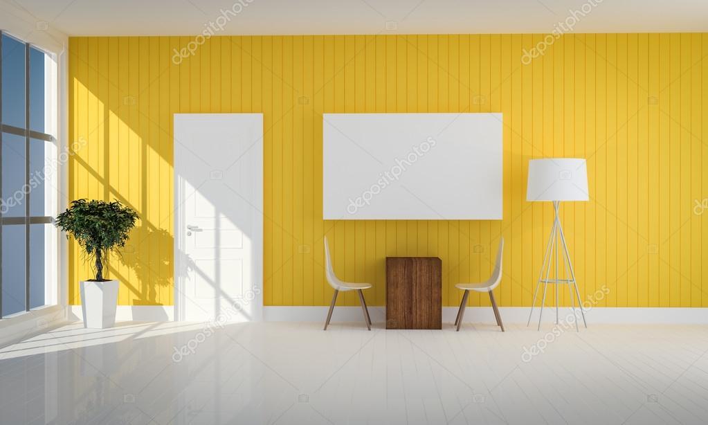 Einfache Gelbe Farbe Wohnzimmer Mit Weißen Tür 3d Renderin U2014 Stockfoto