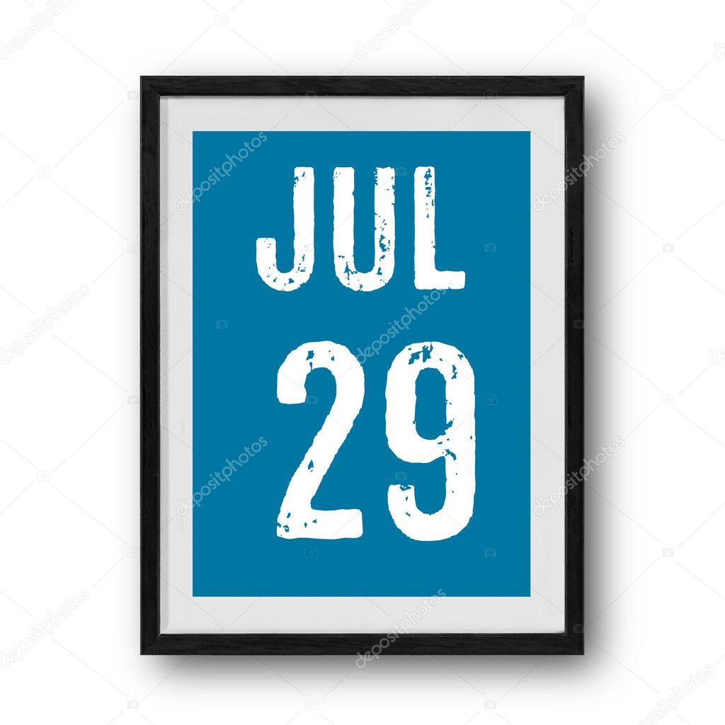 Juli Kalender auf den Bilderrahmen — Stockfoto © chayathon #98466060