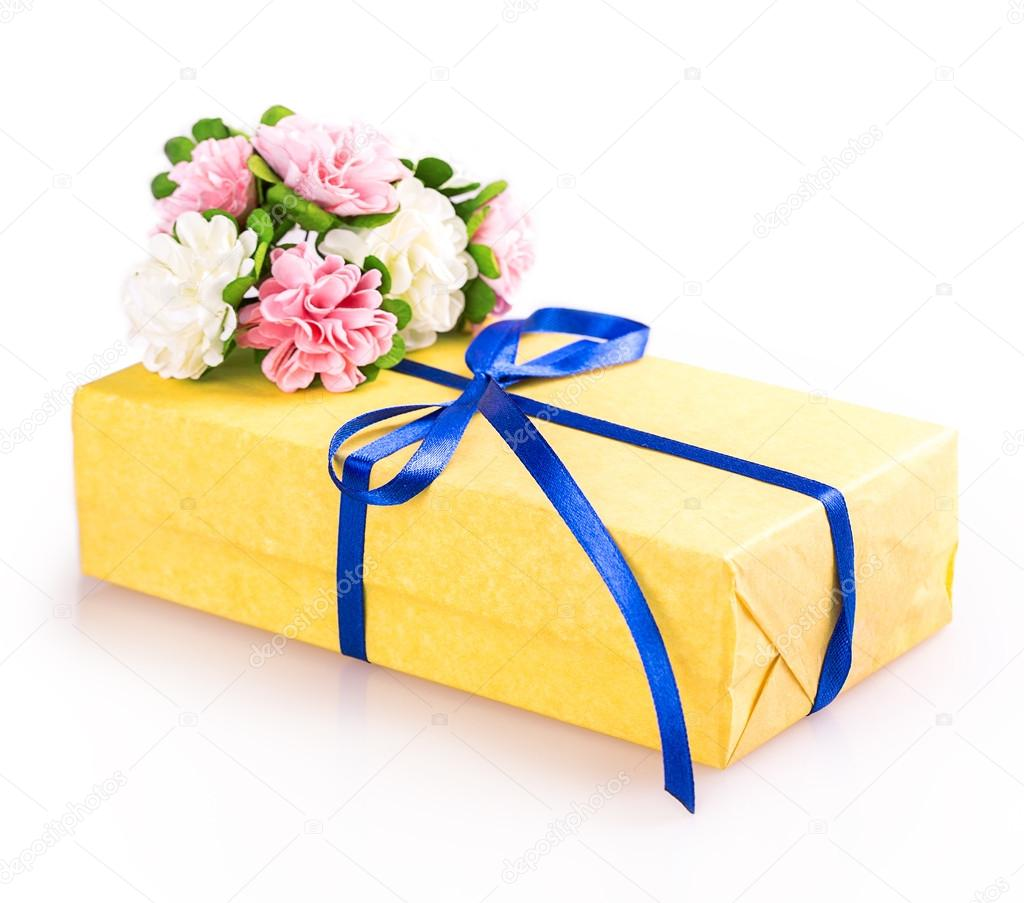 Yellow Blue Flowers Gift Box Stock Photo