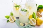 Homemade lemonade in tall glasses