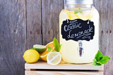 Homemade lemonade in beverage dispencer