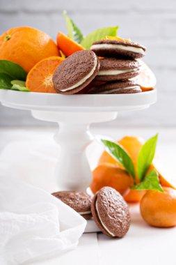 Chocolate orange cookies with cream filling