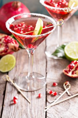 Pomegranate martini with lime