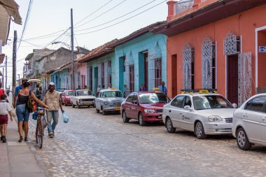 TRINIDAD, CUBA - MARCH 30, 2012: streets of old city with touris