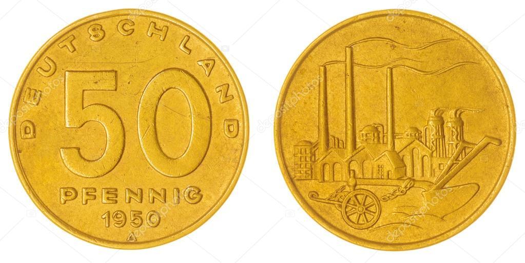 50 Pfennig 1950 Münze Isoliert Auf Weißem Hintergrund Ddr