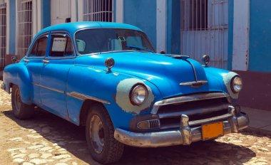Vintage Blue Car, Trinidad, Cuba