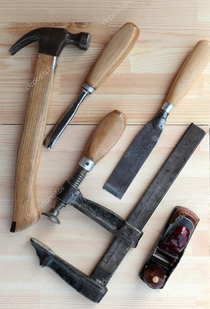 Carpintero herramientas Hummer, abrazadera, plano y cinceles — Fotos ...