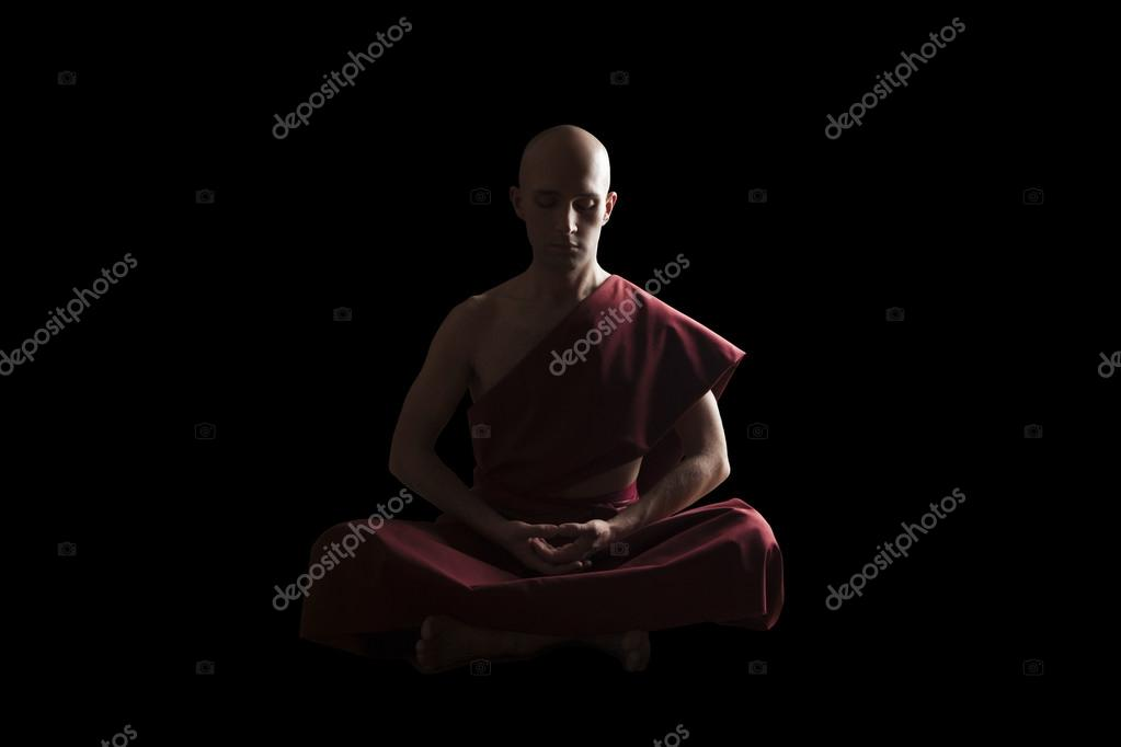 Buddhist Monk In Meditation Pose On Black Background Photo By Tommasolizzul