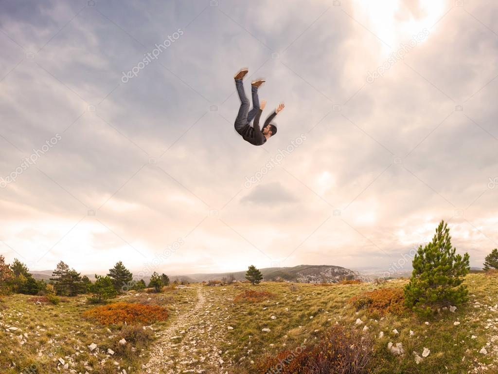 man falling down from sky